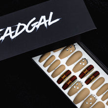 Load image into Gallery viewer, HANDMADE Medium Coffin Nude and GG Stripe Jewels Designer Press On Nail Set - DeadGal