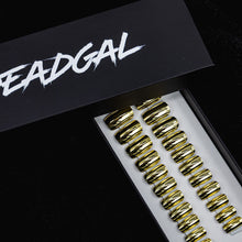 Load image into Gallery viewer, Medium Square Gold Holographic UV Coated Press On Nail Set - DeadGal