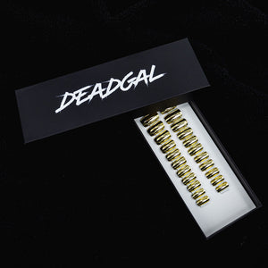 Medium Square Gold Holographic UV Coated Press On Nail Set - DeadGal