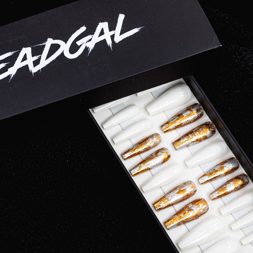 HANDMADE Long Coffin Gold Flake and Solid White Press On Nail Set - DeadGal