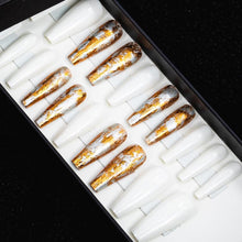 Load image into Gallery viewer, 75% OFF - HANDMADE Long Coffin Gold Flake and Solid White Press On Nail Set - DeadGal