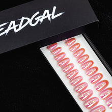 Load image into Gallery viewer, Medium Oval Light Pink Holographic UV Coated Press On Nail Set - DeadGal