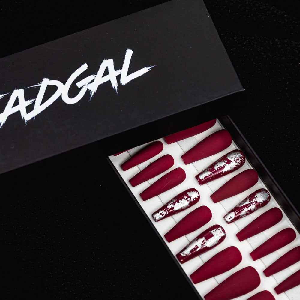 HANDMADE Long Coffin Silver Flake Matte Maroon Press On Nail Set - DeadGal