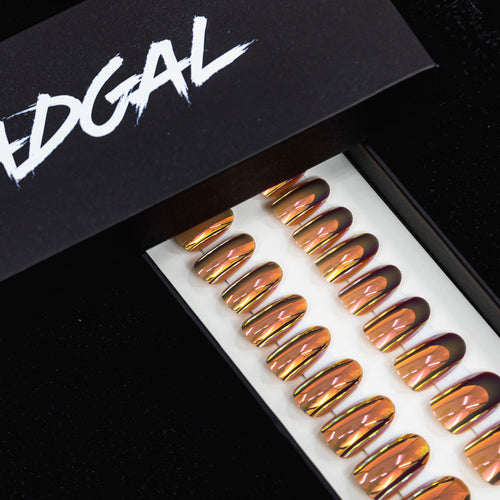 Medium Oval Mauve Holographic UV Coated Press On Nail Set - DeadGal