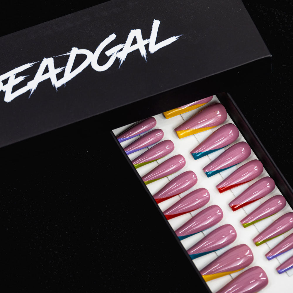 HANDMADE Long Coffin Multi-Colored Painted Tips French Manicure Press On Nail Set - DeadGal
