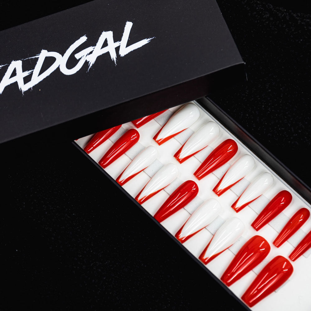 HANDMADE Long Coffin Orange Painted Tips on White and Solid Orange Press On Nail Set - DeadGal
