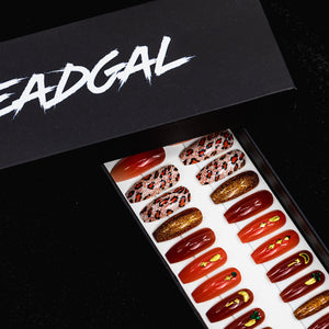 HANDMADE Medium Coffin Orange Egyptian Jewels and Cheetah Gold Glitter Press On Nail Set - DeadGal