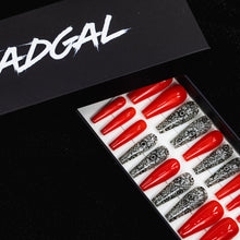 Load image into Gallery viewer, HANDMADE Long Coffin Black Henna and Solid Orange Press On Nail Set - DeadGal