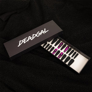 75% OFF - HANDMADE Long Coffin Pink Flake Matte Black Press On Nail Set - DeadGal