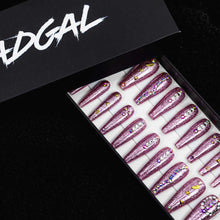 Load image into Gallery viewer, HANDMADE XL Coffin Pink Glitter with Jewels Press On Nail Set - DeadGal