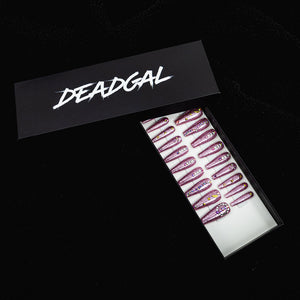 HANDMADE XL Coffin Pink Glitter with Jewels Press On Nail Set - DeadGal