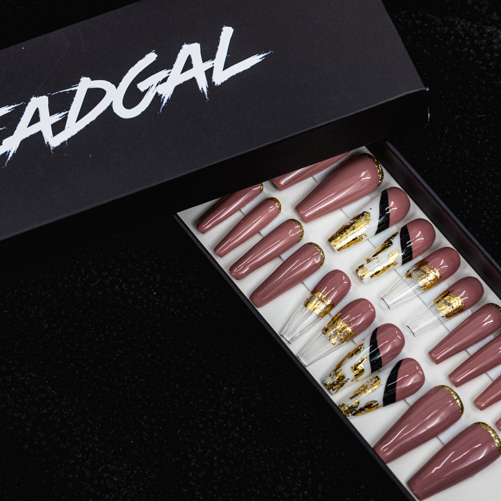 HANDMADE Long Coffin Pink Gold Tip and Clear Tip Press On Nail Set - DeadGal
