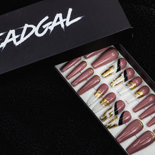 Load image into Gallery viewer, HANDMADE Long Coffin Pink Gold Tip and Clear Tip Press On Nail Set - DeadGal