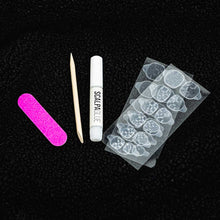 Load image into Gallery viewer, HANDMADE Short Coffin Red Pink Louis Designer and Pink Glitter Press On Nail Set - DeadGal