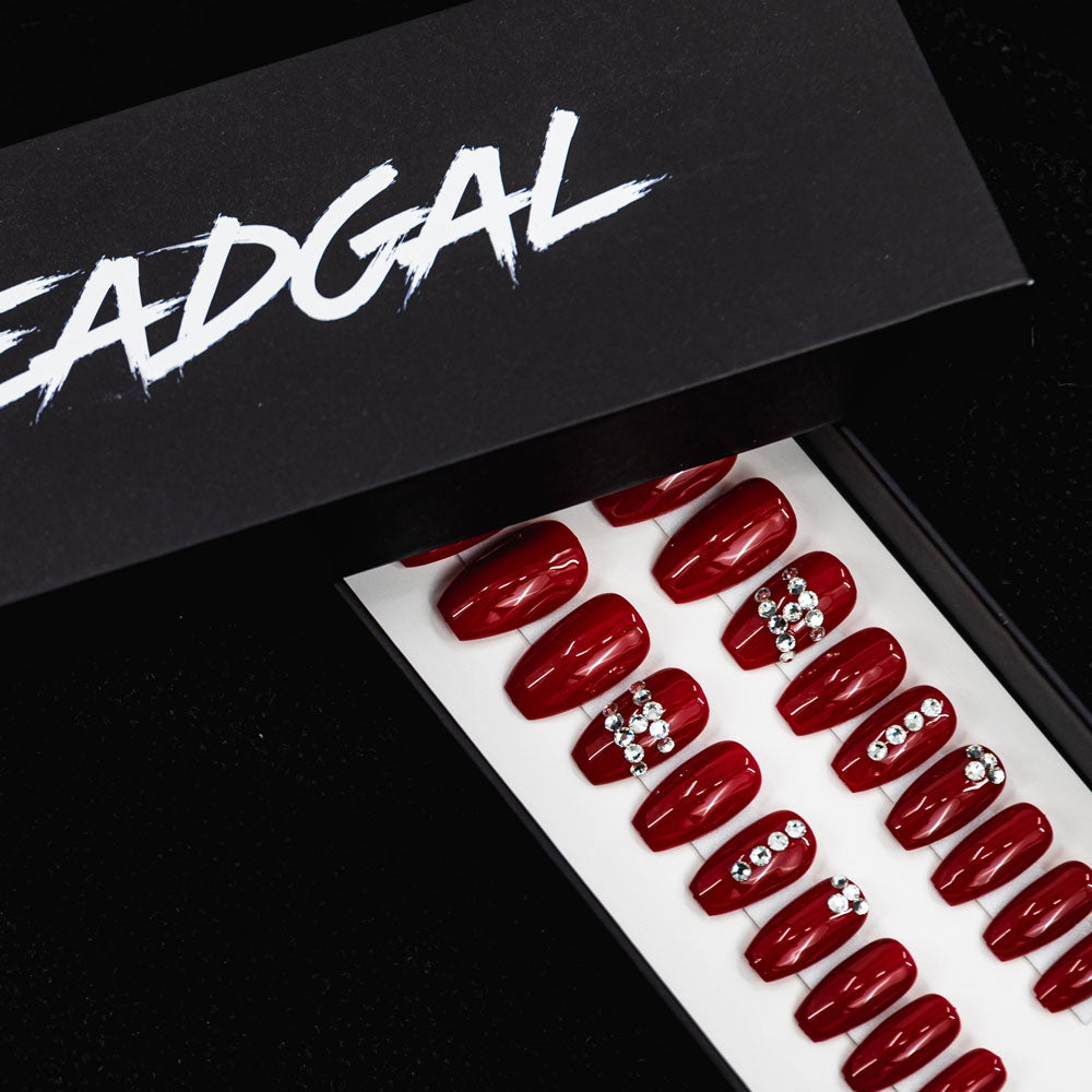 HANDMADE Short Coffin Red Jewel Press On Nail Set - DeadGal