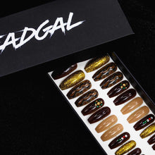 Load image into Gallery viewer, HANDMADE Medium Coffin Snakeskin Gold Nude and Jewels Press On Nail Set - DeadGal