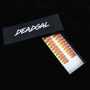 Medium Coffin Yellow Tips French Manicure Press On Nail Set - DeadGal