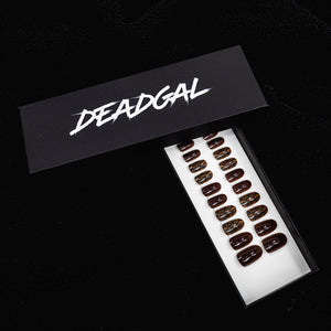 Short Oval Snakeskin and Cappuccino Solid Press On Nail Set - DeadGal