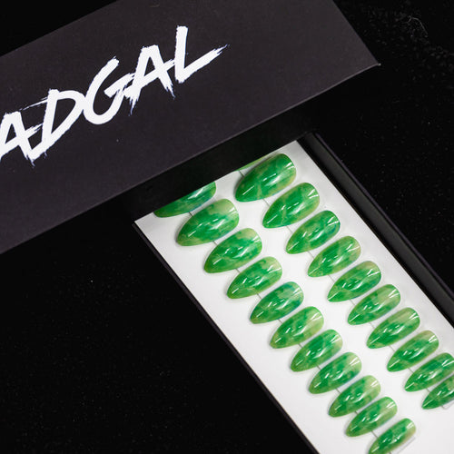 Medium Almond Green Jade Press On Nail Set - DeadGal