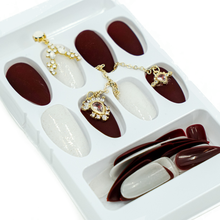 Load image into Gallery viewer, Medium Almond Maroon Matte Gold Chain Press On Nail Set - DeadGal