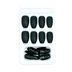 Medium Coffin Matte Black Press On Nail Set - DeadGal