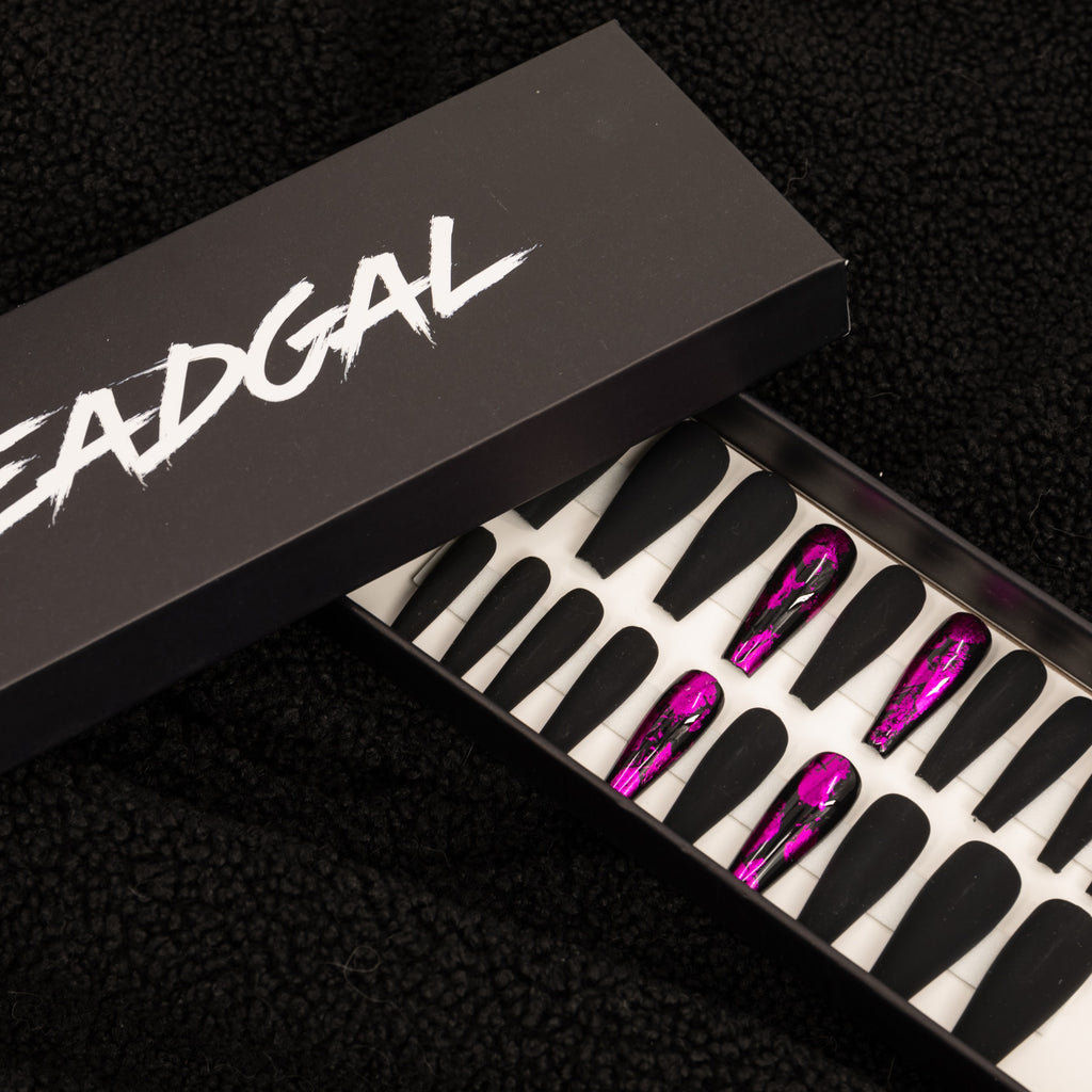 HANDMADE Long Coffin Pink Flake Matte Black Press On Nail Set - DeadGal