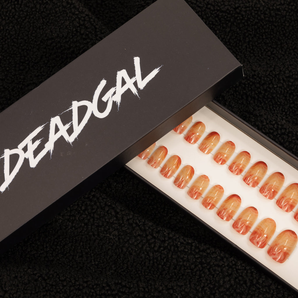 Short Oval Pinkish Orange Jade Press On Nail Set - DeadGal