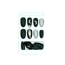 Load image into Gallery viewer, Medium Almond Matte Black Silver Chain Press On Nail Set - DeadGal
