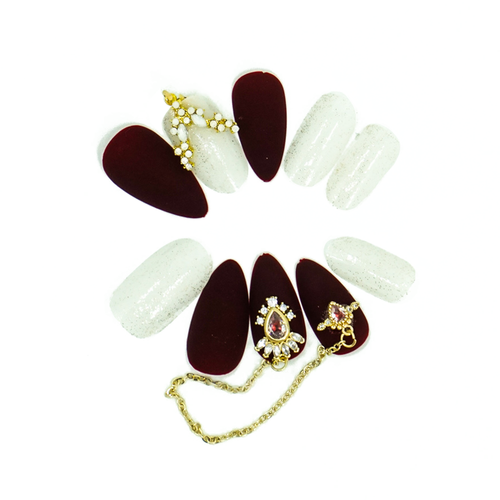 Medium Almond Maroon Matte Gold Chain Press On Nail Set - DeadGal