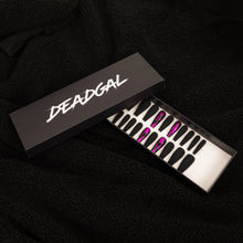 Load image into Gallery viewer, HANDMADE Long Coffin Pink Flake Matte Black Press On Nail Set - DeadGal