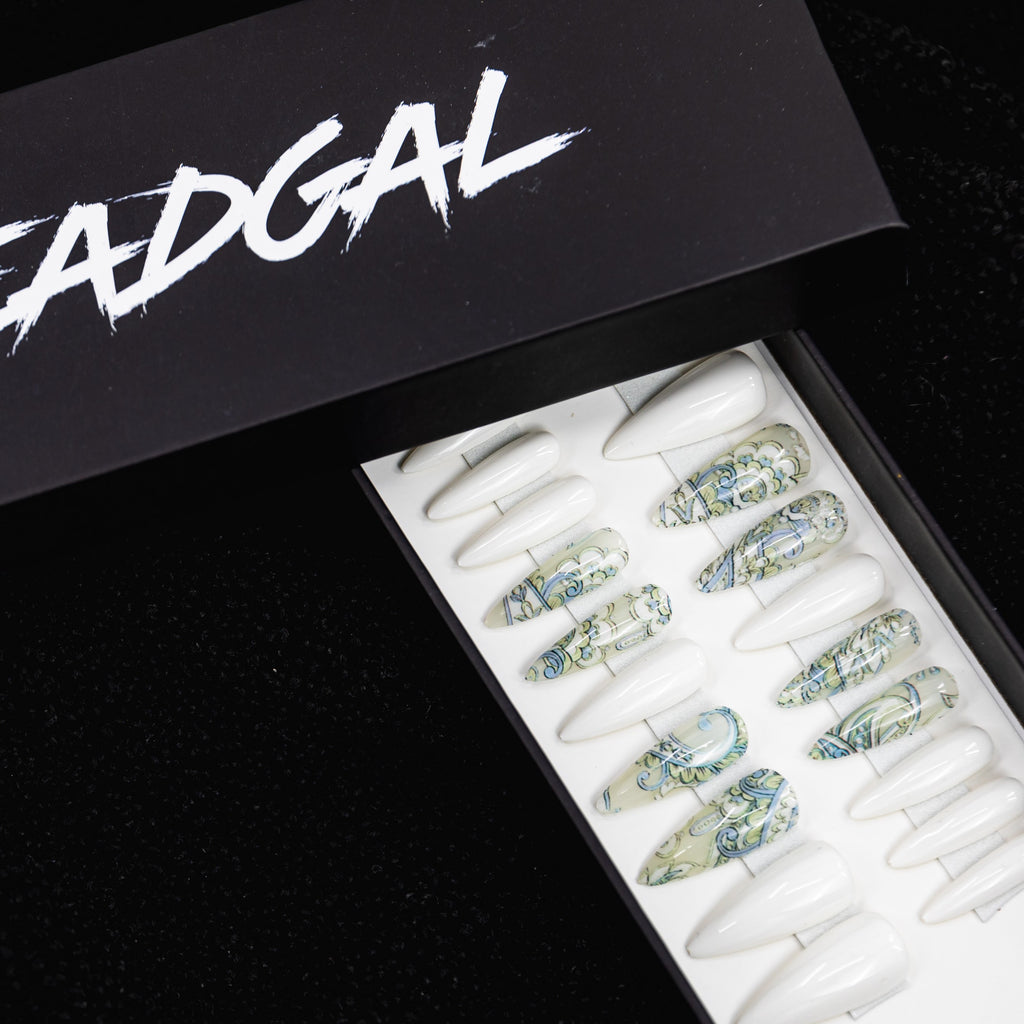 HANDMADE Long Claw Blue and White Henna and Solid White Press On Nail Set - DeadGal