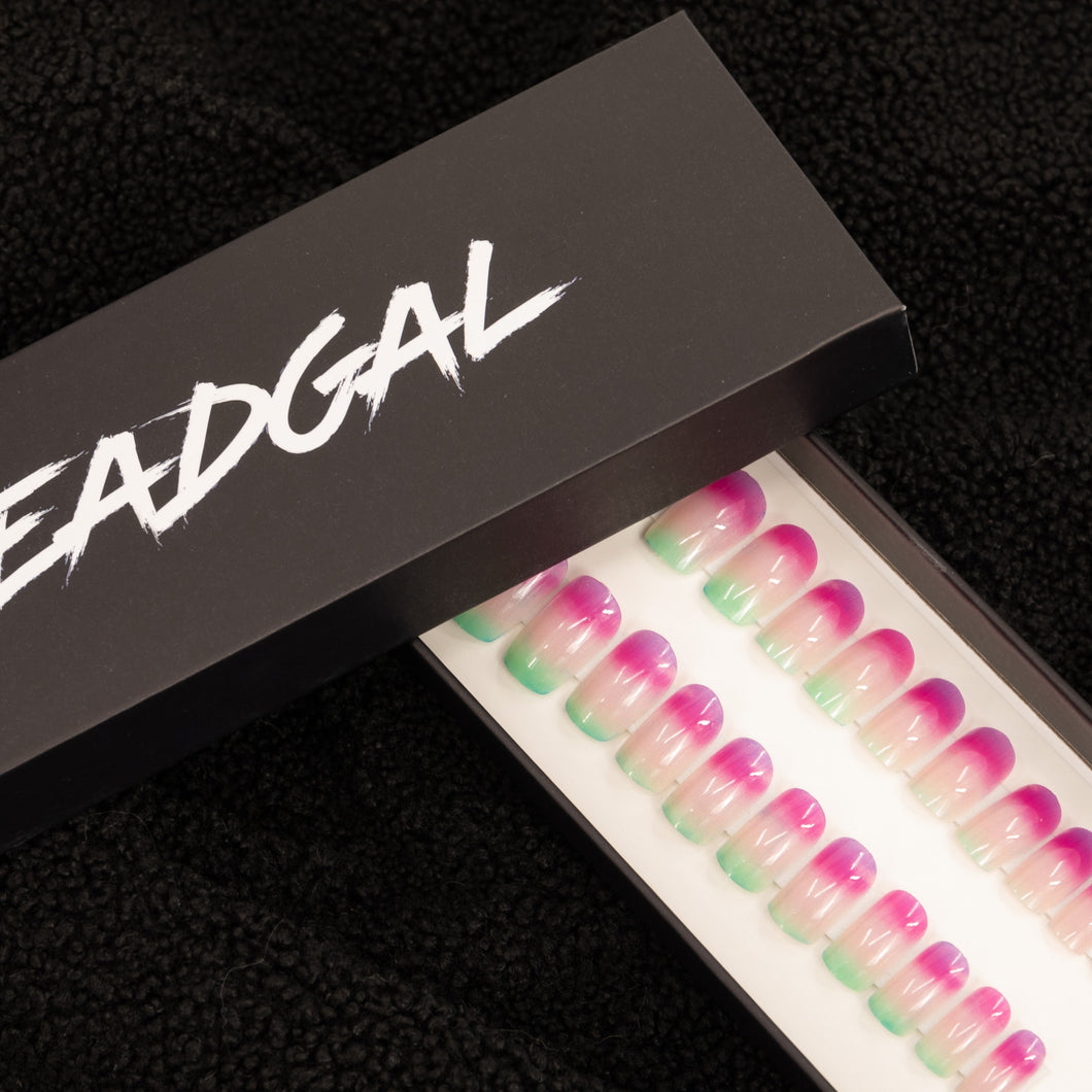 Short Square Tri-Colored Jade Press On Nail Set - DeadGal