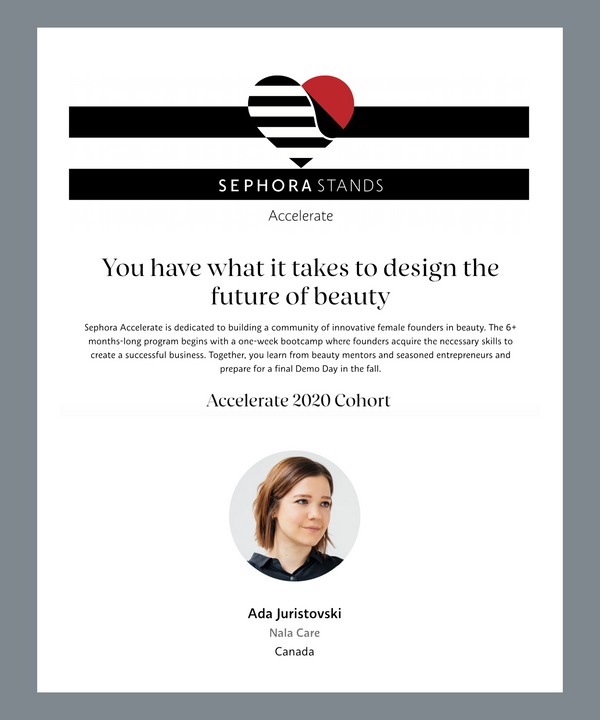Nala selected for Sephora Accelerate 2020 Cohort