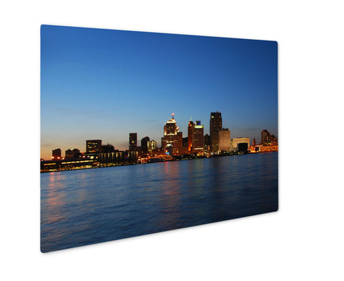 Metal Panel Print, Detroit City Skyline At Night - Life Relevance