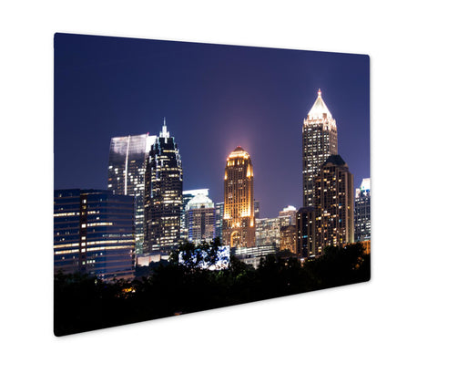 Metal Panel Print, Group Of Buildings At Atlanta downtown At Dusk - Life Relevance