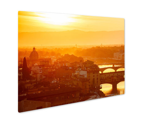 Metal Panel Print, Bridges The Arno River Florence Italy Old Town In Evening Sunset - Life Relevance