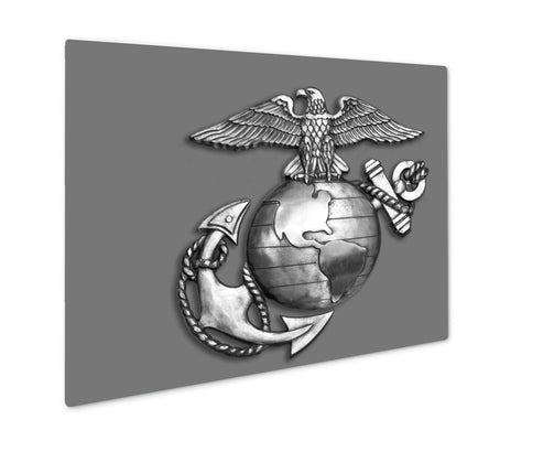 Metal Panel Print, Marine Eagleglobe And Anchor Brass Emblem In Black And White - Life Relevance