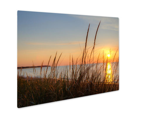 Metal Panel Print, Summer Beach Sunset Horizon Sunset Reflected In The Water Of Lake Huron With - Life Relevance
