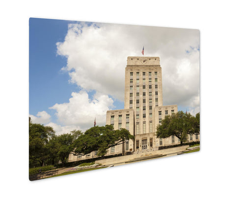 Metal Panel Print, Houston City Hall Building With Fountain And Flag Texas United States - Life Relevance