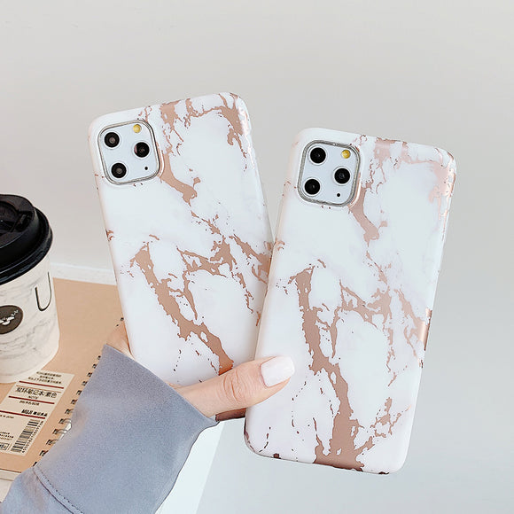 Shiny Rose Gold Line Marble Phone Case
