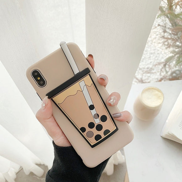 Cute Cartoon Milk Tea Cup Case