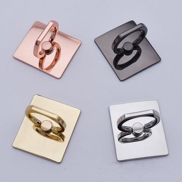 Rose-Gold Color Metal Square Finger Ring Bracket Mobile Phone Socket Holder Stand Accessories
