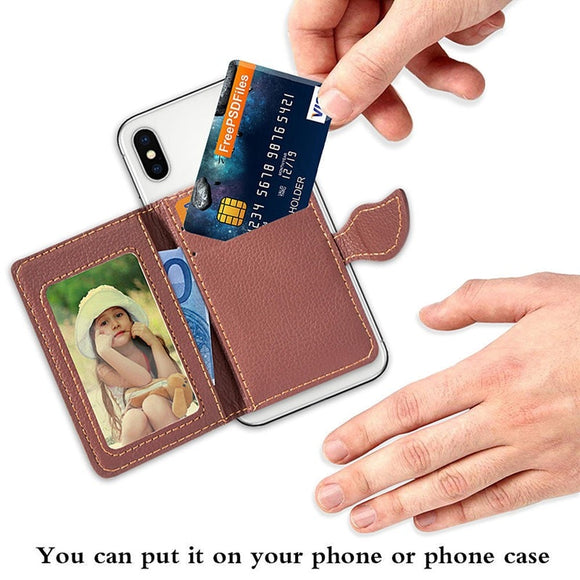 Wallet Case Credit Card Holder Pocket Stick 3M Adhesive Fashion Mobile Phone Holder