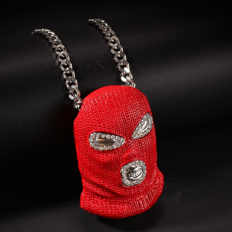 Red Iced Out Mask Pendant