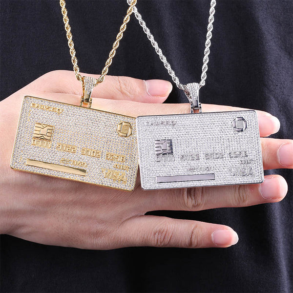 Iced Out VISA Card Pendant Necklace