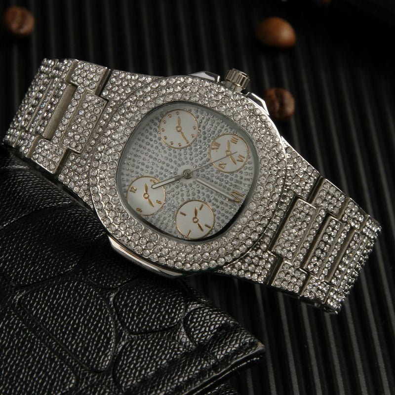 Iced Out Diamond Watch & Ring Combo Set