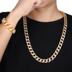 Bling Hip Hop Necklace & Bracelet Bundle