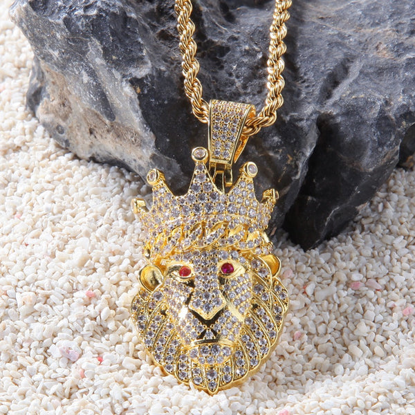 Crown Lion Pendant Necklace