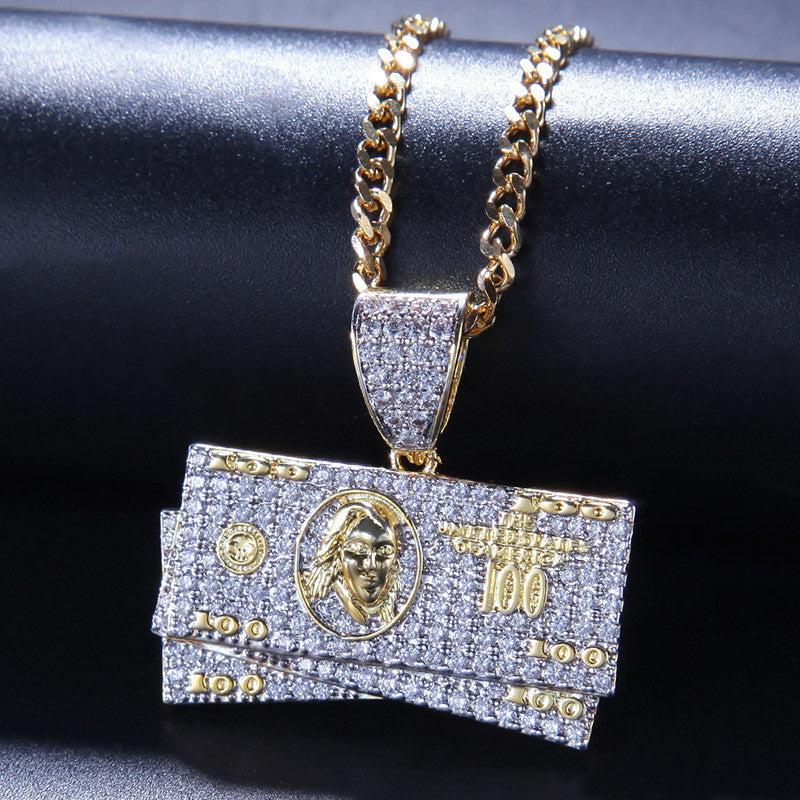 Hip Hop Dollar Shape Pendant Necklace