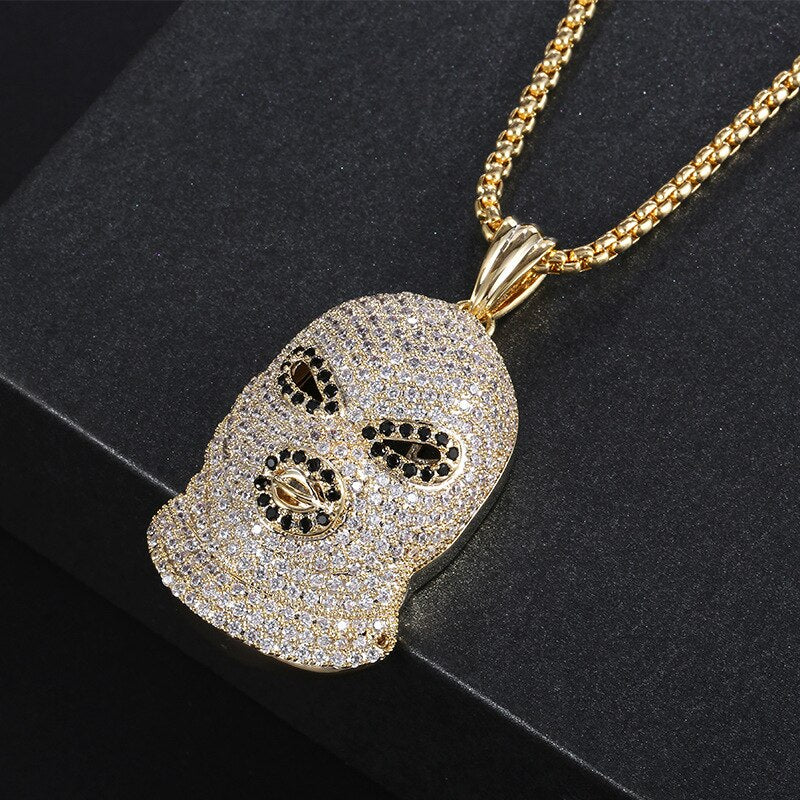 White Iced Out Mask Pendant Necklace